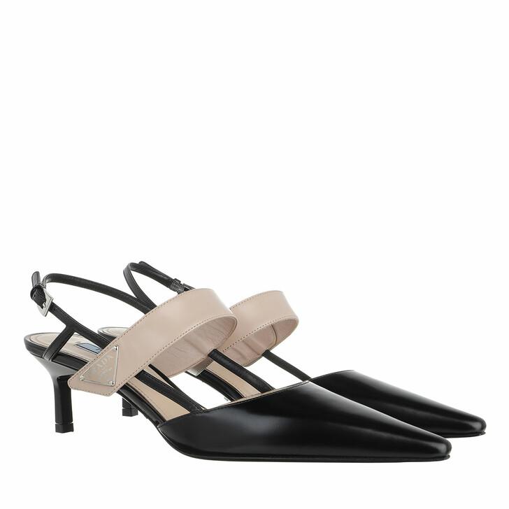 shoes, Prada, Triangle Logo Slingback Pumps Leather Black/Nude