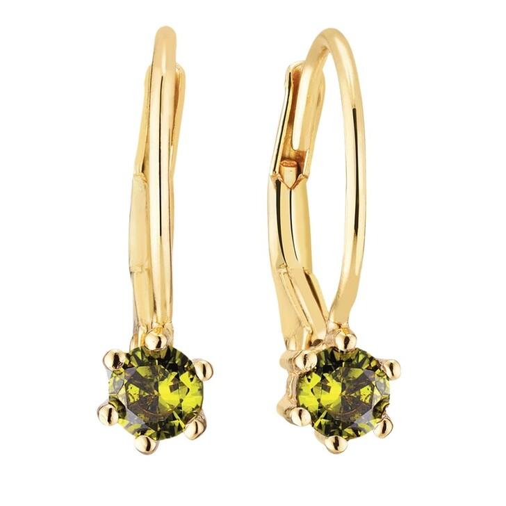 earrings, Sif Jakobs Jewellery, Rimini Earrings 18 Carat Yellow Gold/Olive Green