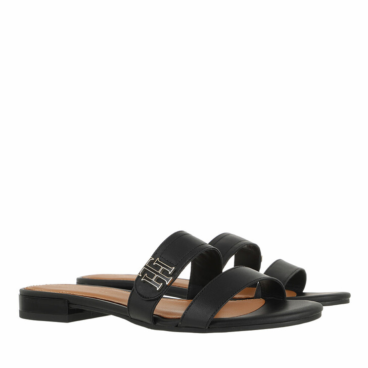 shoes, Tommy Hilfiger, TH Hardware Flat Leather Mule Black