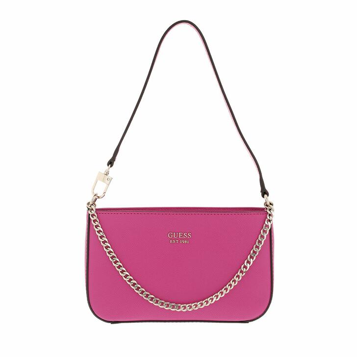 bags, Guess, Katey Mini Top Zip Shoulder Fuchsia