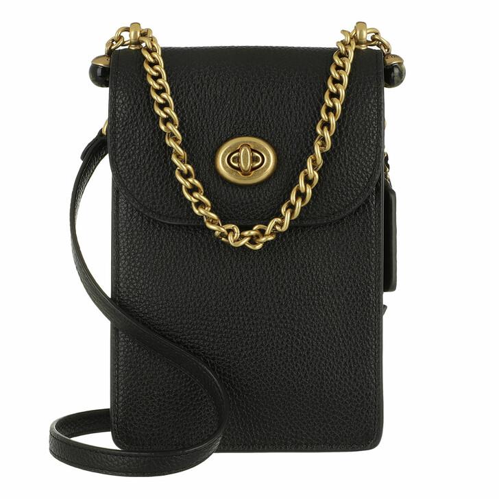 Smartphone/Tablet case (Bag), Coach, Polished Pebble Leather Liv Phone Crossbody B4/Black