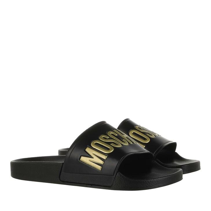 Schuh, Moschino, Logo Pool Slides Nero/Oro
