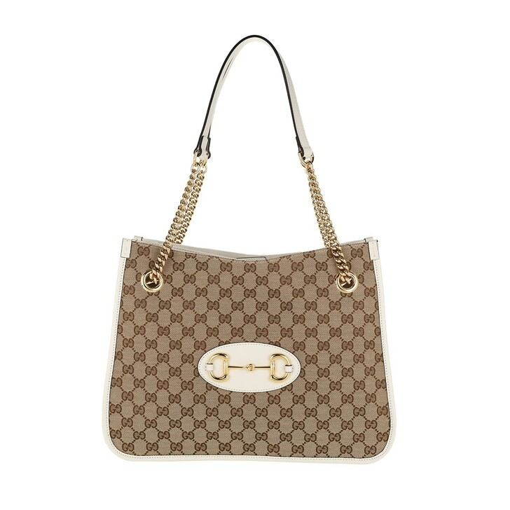 Handtasche, Gucci, Medium Horsebit Shopping Bag Leather Ebony/White