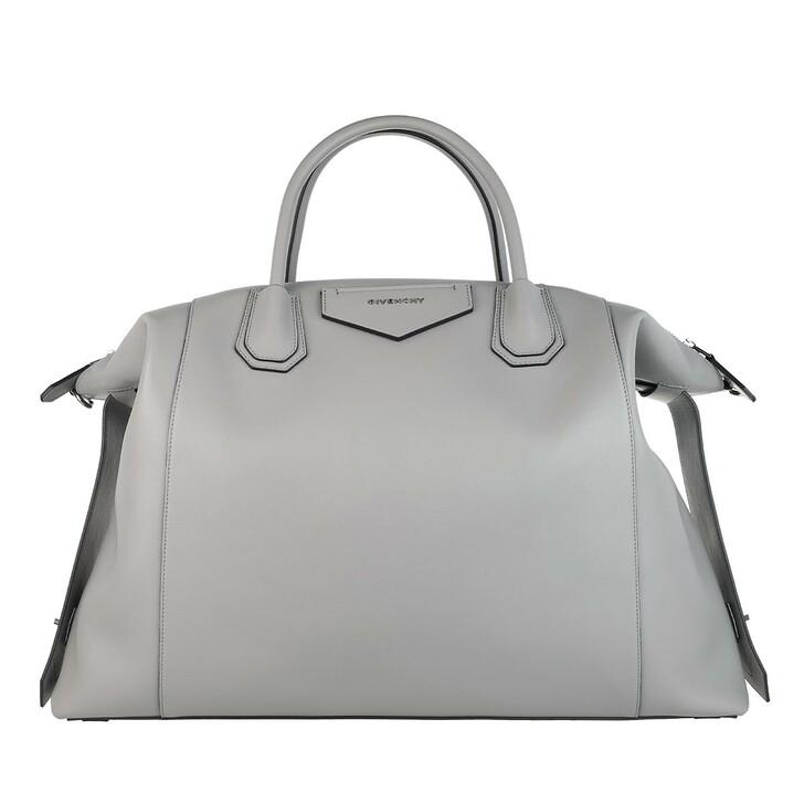 Handtasche, Givenchy, Large Antigona Soft Bag Leather Pearl Grey