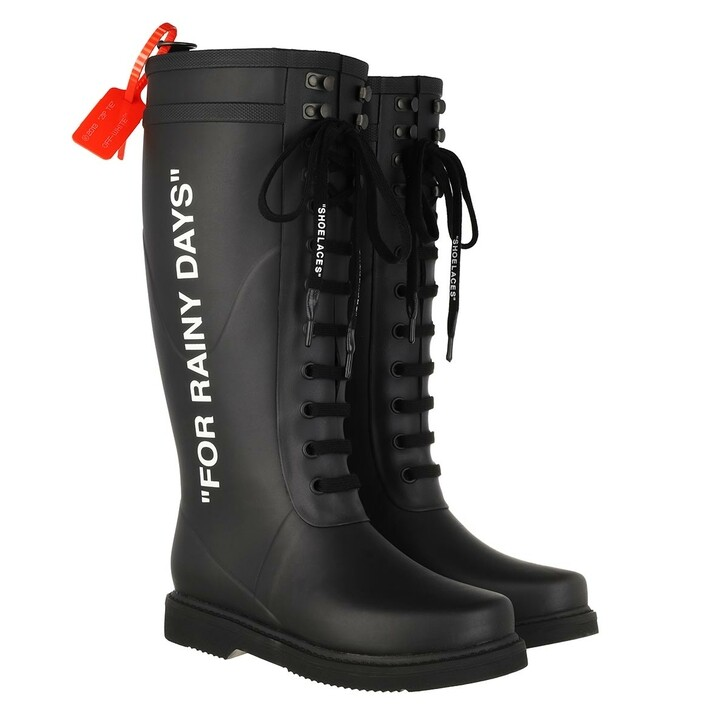 shoes, Off-White, Rain Boot Black White