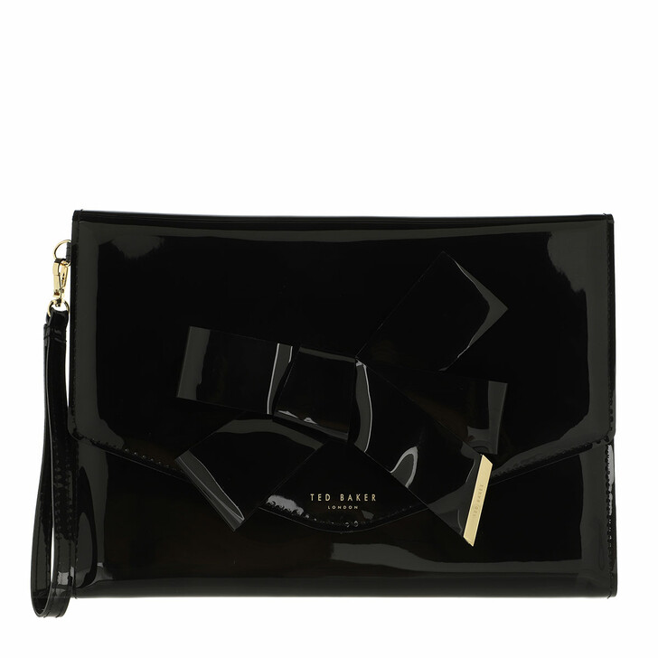 bags, Ted Baker, Nikkey Knot Bow Envelope Pouch Black