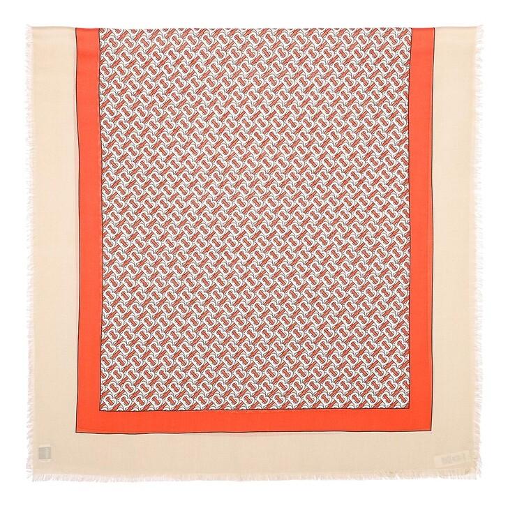 scarves, Burberry, Monogram Cashmere Scarf Vermillion