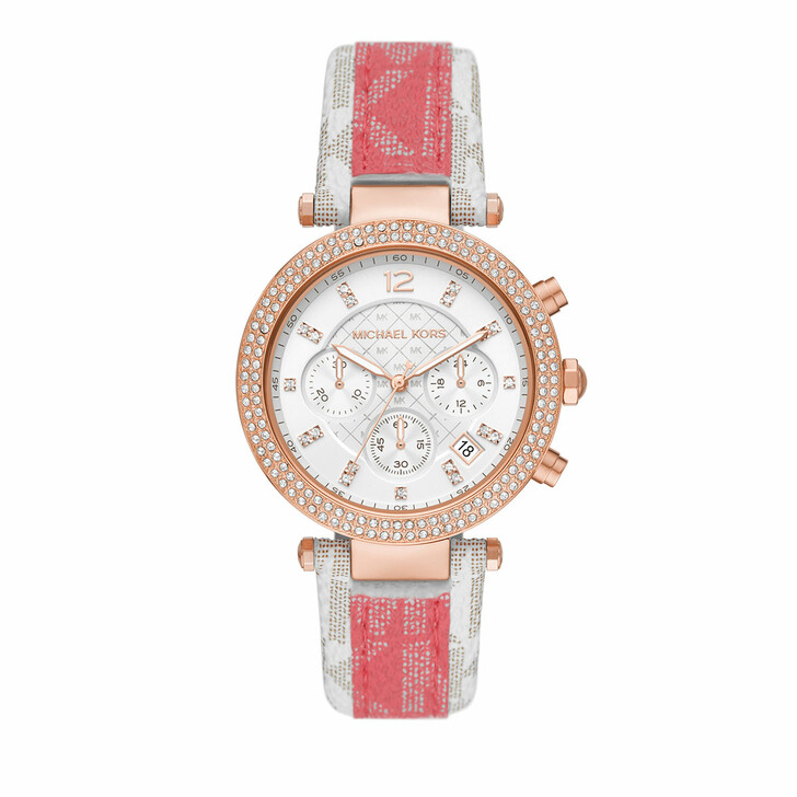 watches, Michael Kors, Parker Chronograph PVC Leather Watch Multicolored/Rosegold