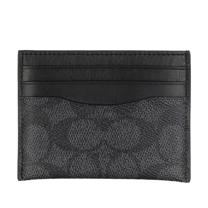 Geldbörse, Coach, Flat Card Case Charcoal/Black
