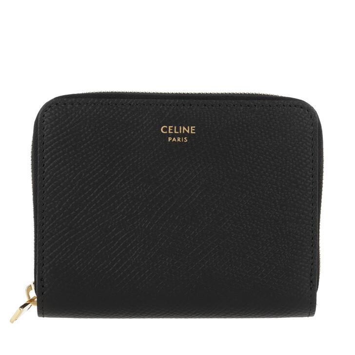Geldbörse, Celine, Compact Zipped Wallet Grained Leather Black