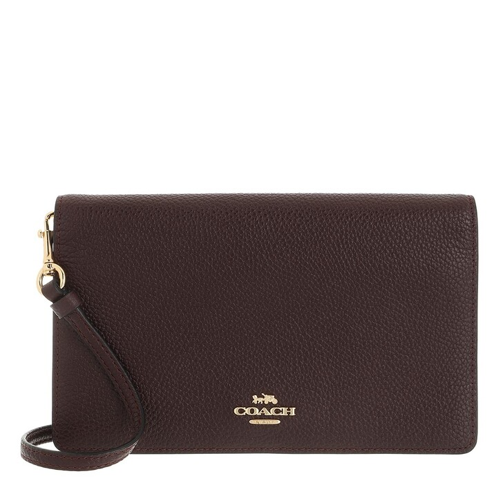 bags, Coach, Pebbled Leather Foldover Crossbody Bag Oxblood