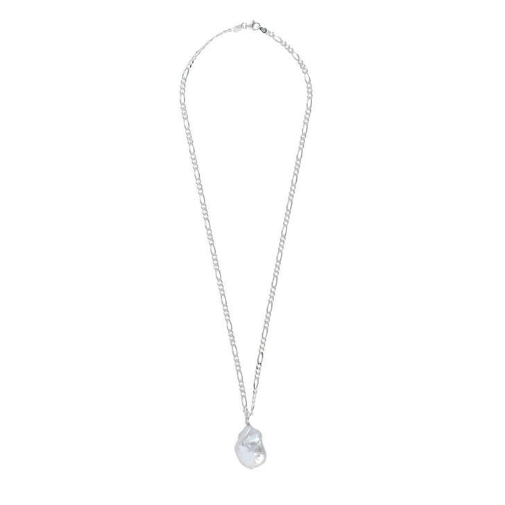 Kette, LLR Studios, Medium Figaro X Baroque Pearl 45cm Necklace Silver