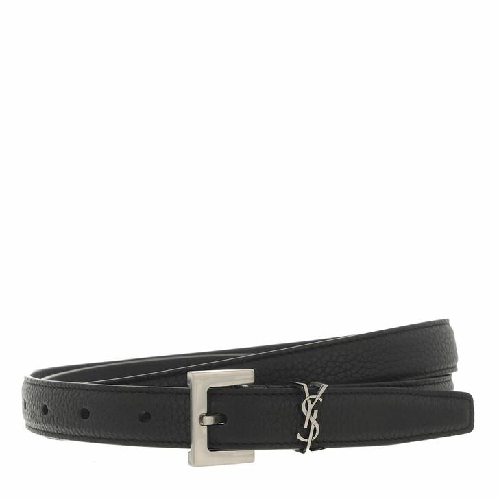 belts, Saint Laurent, Monogram Belt Leather Black