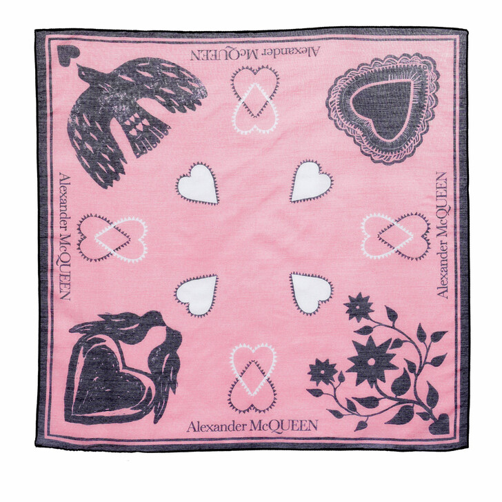 scarves, Alexander McQueen, Mystic Bandana Pink/Black