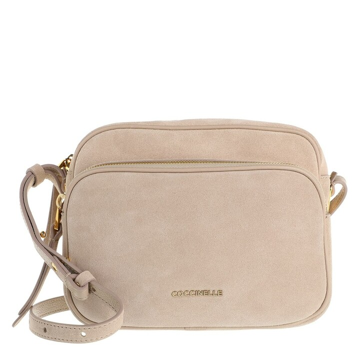 bags, Coccinelle, Lea Suede Crossbody Bag Powder Pink