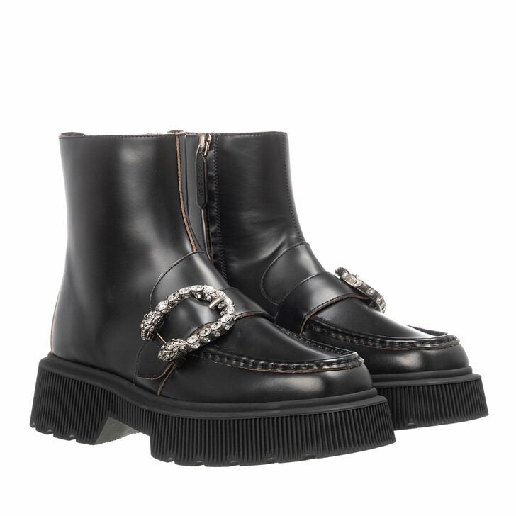 Schuh, Gucci, Tiger Head Boots Leather Black