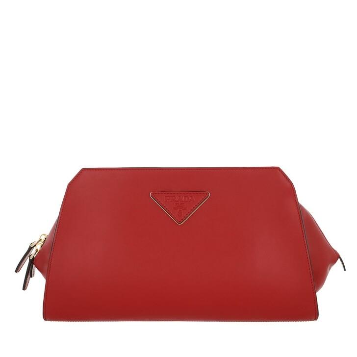 Handtasche, Prada, Logo Plaque Clutch Leather Fuoco
