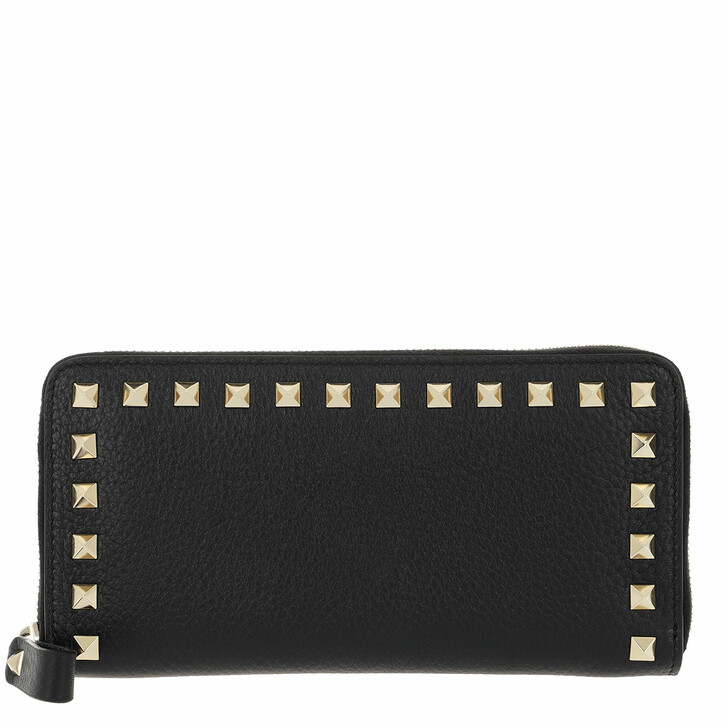 Geldbörse, Valentino, Rockstud Wallet Large Leather Black