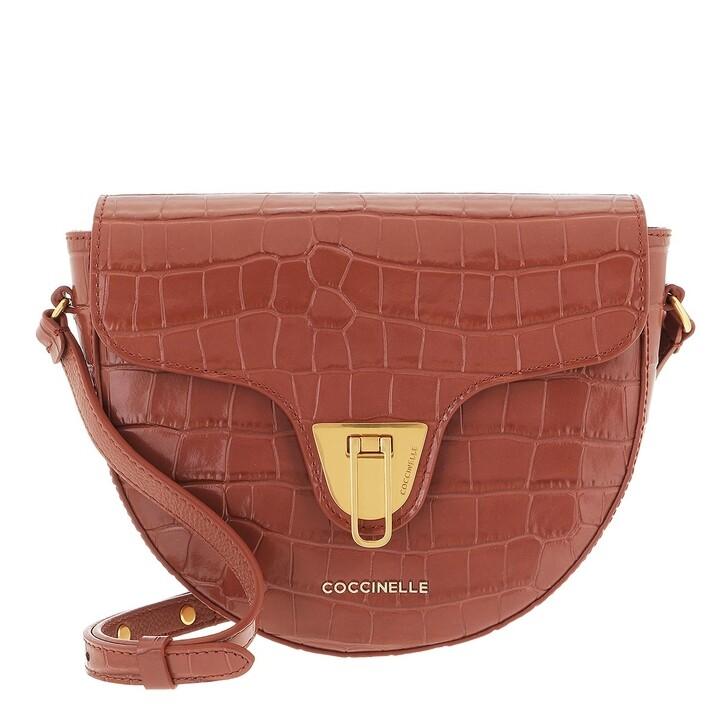 bags, Coccinelle, Coccinelle Beat Handbag Shiny Soft Croco Cinnamon