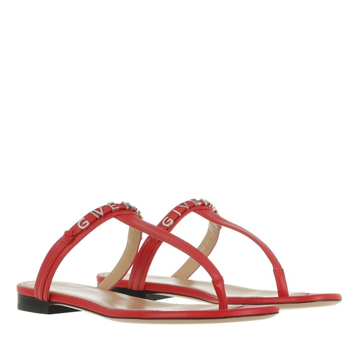 Schuh, Givenchy, Elba Flat Thong Sandals Leather  Red