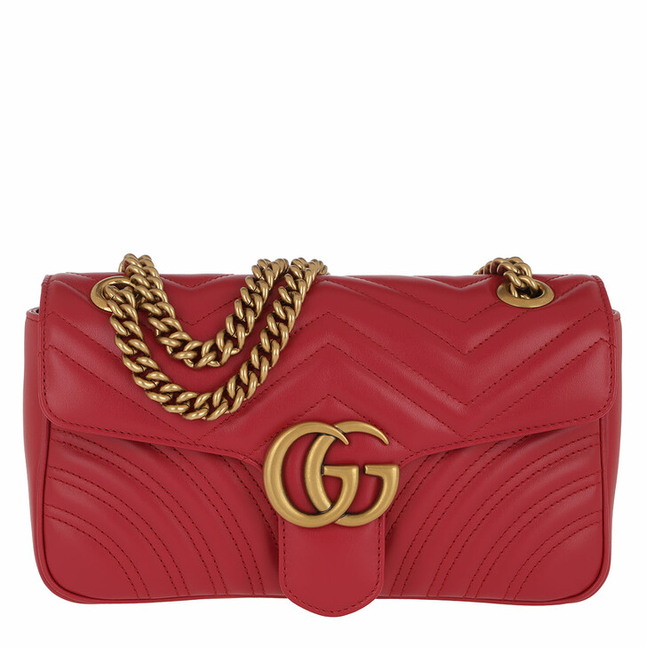 Handtasche, Gucci, GG Marmont Matelassé Shoulder Bag Hibiscus Red