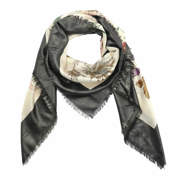 scarves, Gucci, Flora Gothic Print Shawl Ivory/Black