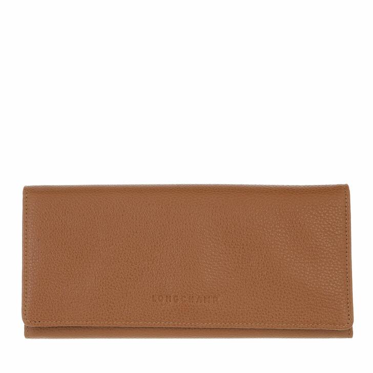 wallets, Longchamp, Le Foulonné Wallet with Flap Caramel