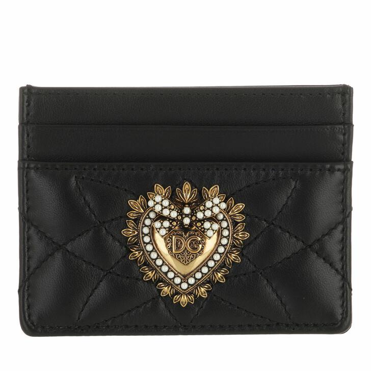wallets, Dolce&Gabbana, Logo Card Holder Leather Black