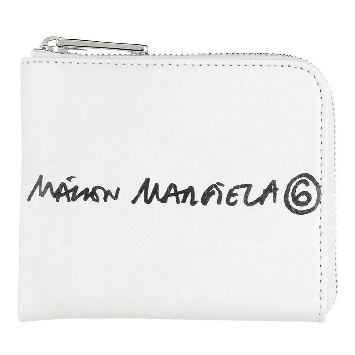 Geldbörse, MM6 Maison Margiela, Zip Around Wallet Small White MM6 Print
