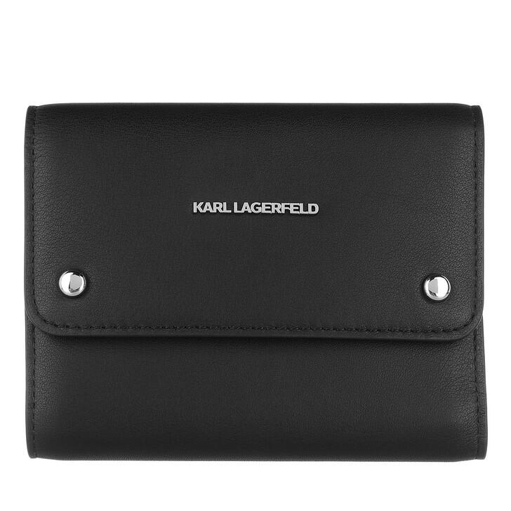 wallets, Karl Lagerfeld, Ikon Flap Wallet Black