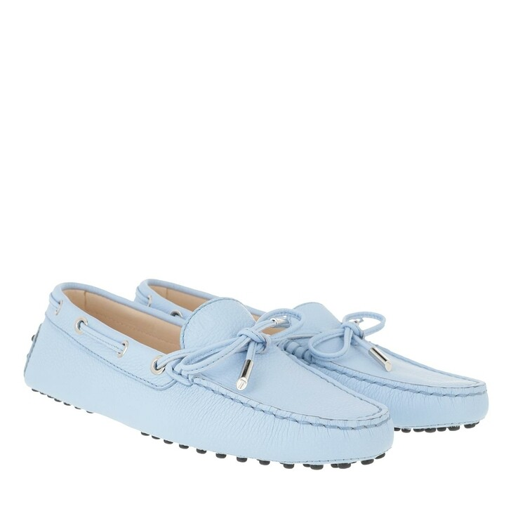 Schuh, Tod's, Heaven Loafer With Eyelets And Lace Bow Placid Blue