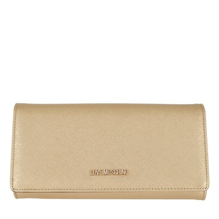 Geldbörse, Love Moschino, Wallet Leather Gold