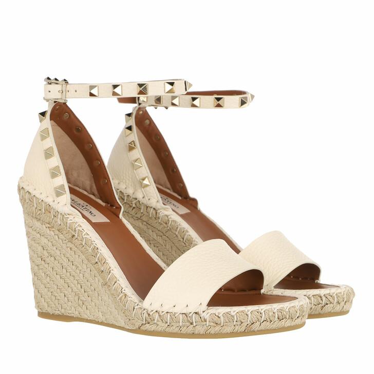 Schuh, Valentino, Rockstud Wedges Light Ivory