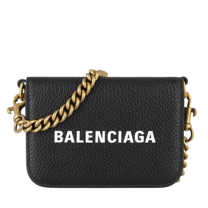 Geldbörse, Balenciaga, Logo Wallet On Chain Leather Black/White