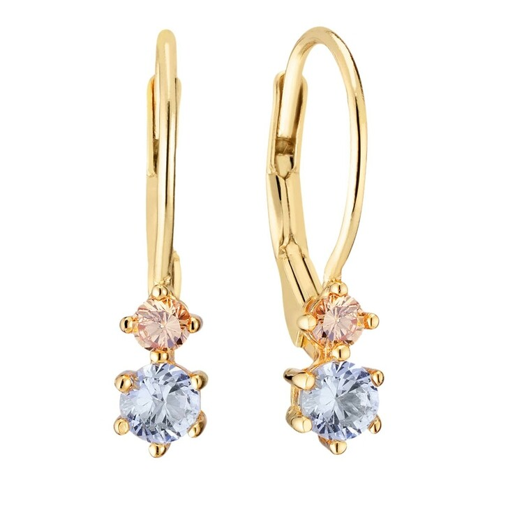 earrings, Sif Jakobs Jewellery, Rimini Due Earrings Yellow Gold/Blue/Champagne