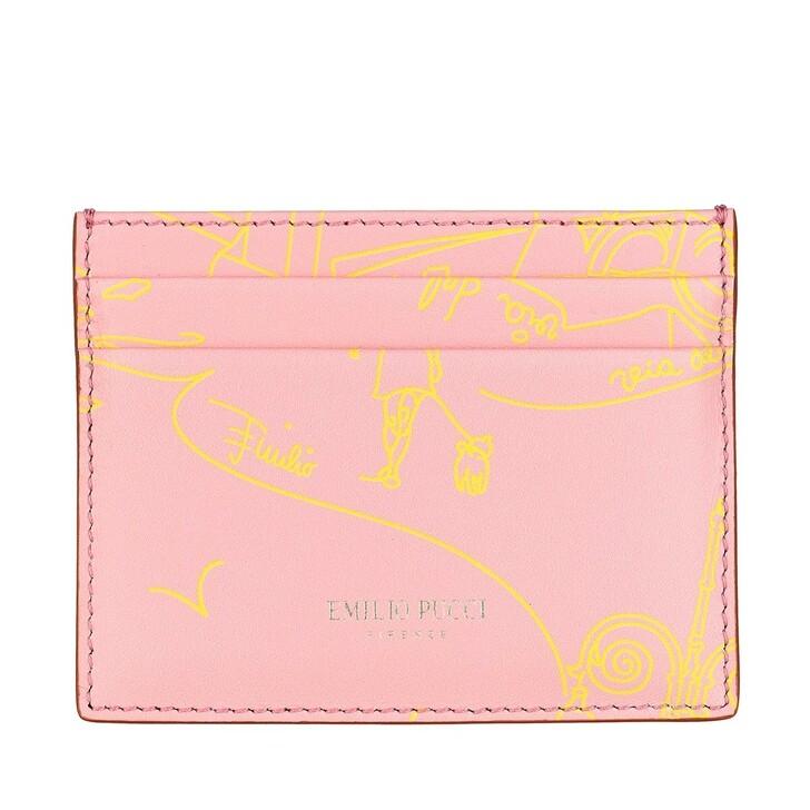 wallets, Emilio Pucci, Credit Card Holder Scorci Fiorent Rosa/Giallo