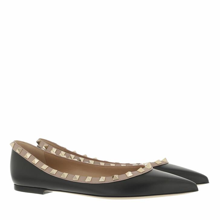 shoes, Valentino Garavani, Rockstud Ballerina Black Powder