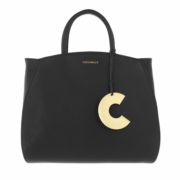 bags, Coccinelle, Concrete Handbag Grainy Leather  Noir