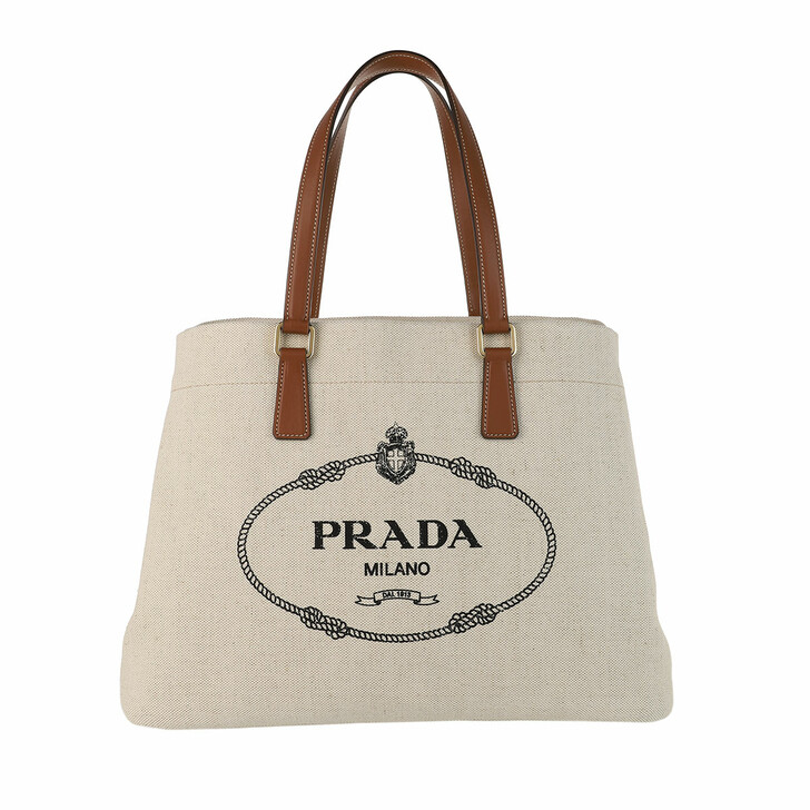 Handtasche, Prada, Logo Tote Shopping Bag Naturale/Cognac