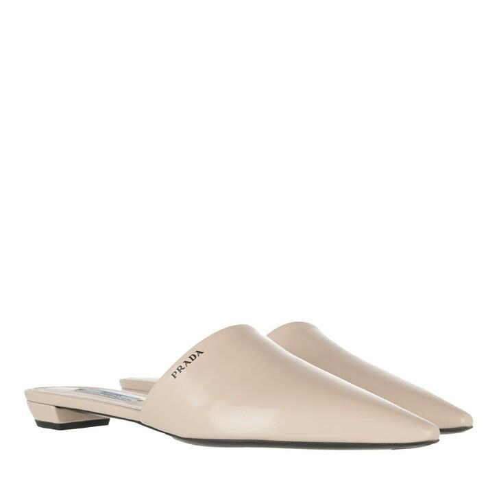 shoes, Prada, Logo Print Flat Mules Leather Powder Pink