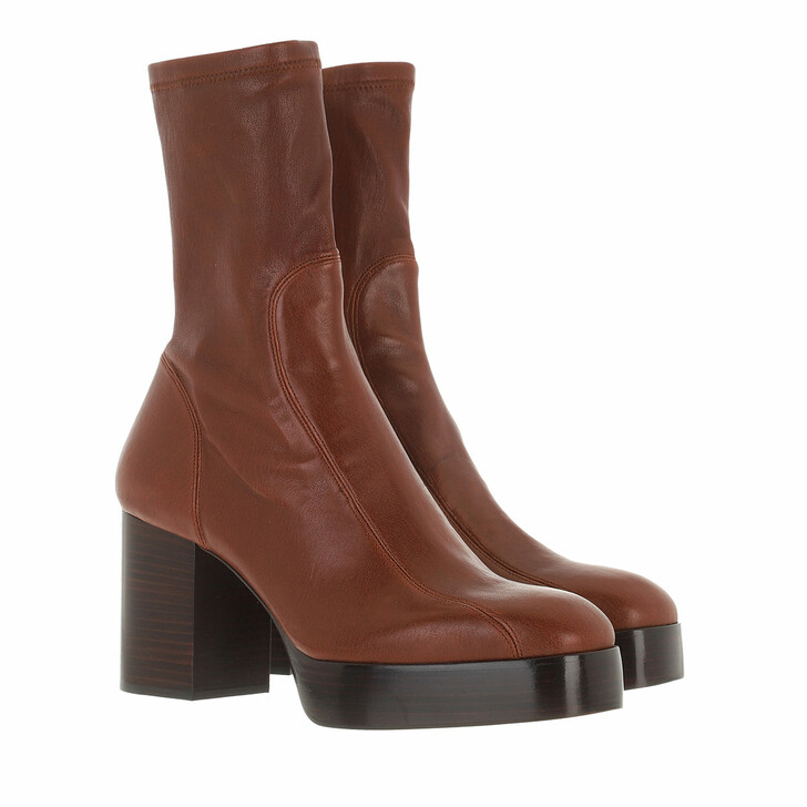 shoes, Chloé, Heeled Ankle Boots Leather Dusty Brown