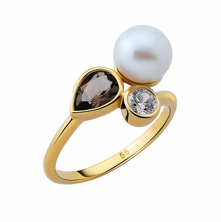 Ring, Orphelia, Ring Smokey Quartz & Fresh Water Pearl Yellow Gold