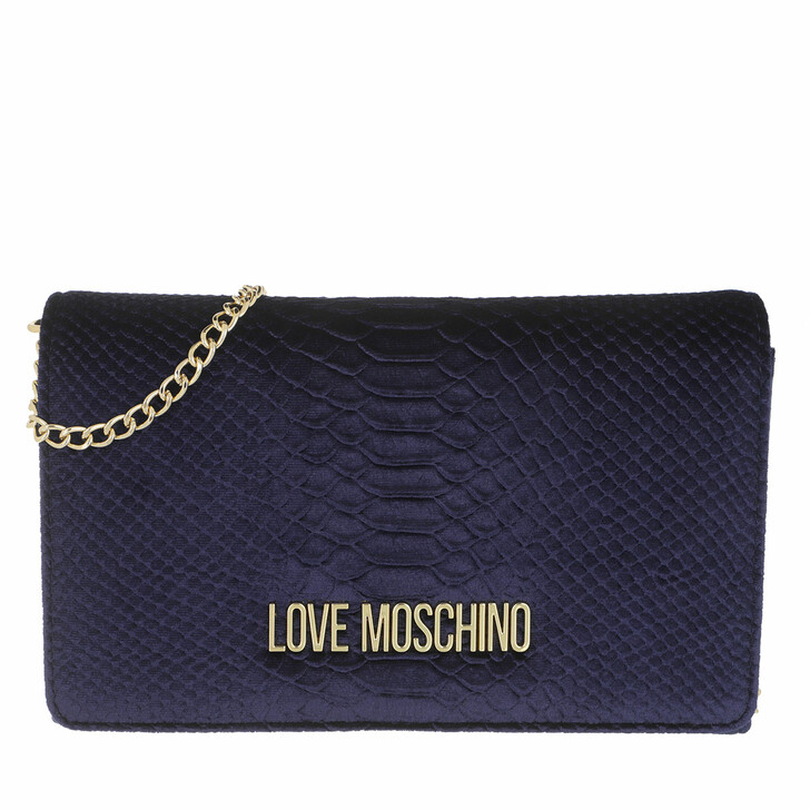bags, Love Moschino, Borsa Velluto St.Anaconda  Navy