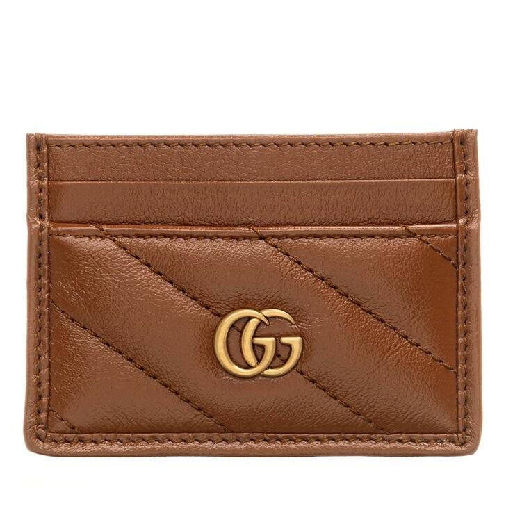 Geldbörse, Gucci, GG Marmont Card Holder Matelassé Leather Brown