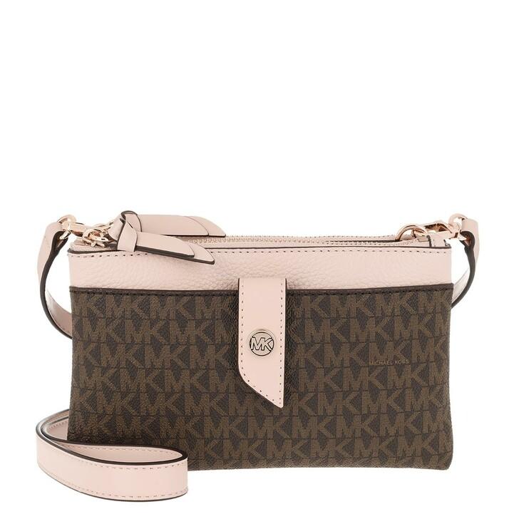 Handtasche, MICHAEL Michael Kors, Charm Medium Tab Double Zip Phone Crossbody Brown Softpink