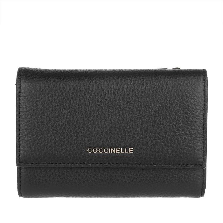 wallets, Coccinelle, Metallic Soft Wallet Noir