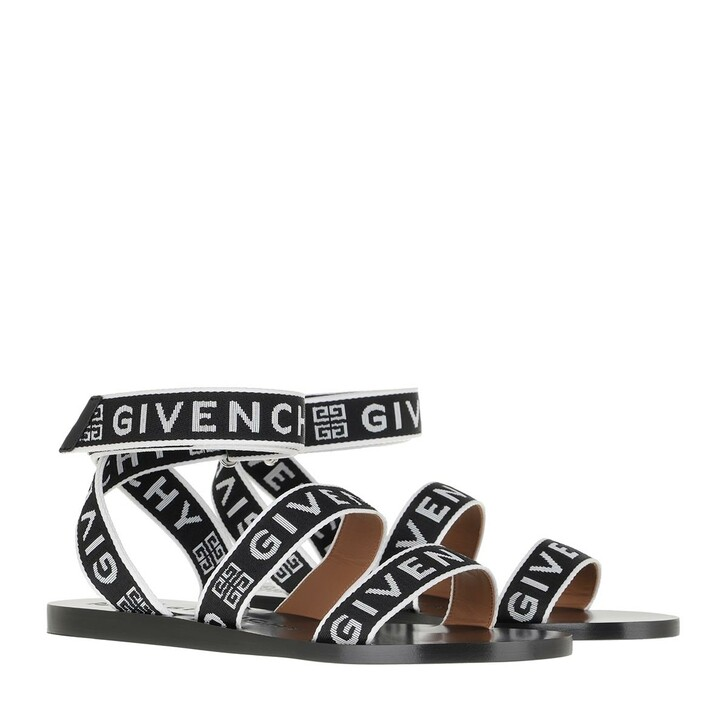 Schuh, Givenchy, 4G Webbing Sandals Black White