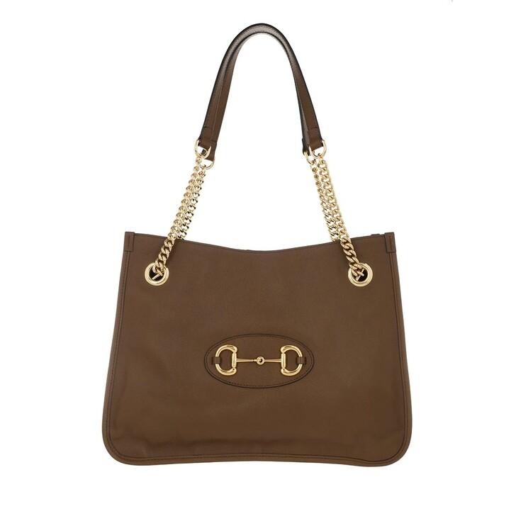 Handtasche, Gucci, Medium Horsebit Shopping Bag Leather Brown Sugar