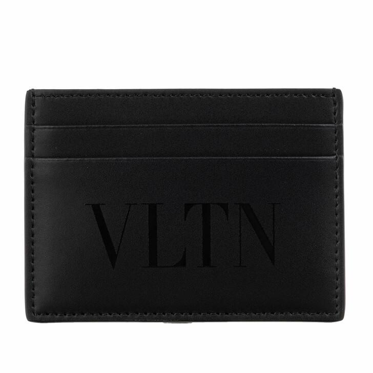 Geldbörse, Valentino, VLTN Credit Card Holder Calfskin Black On Black