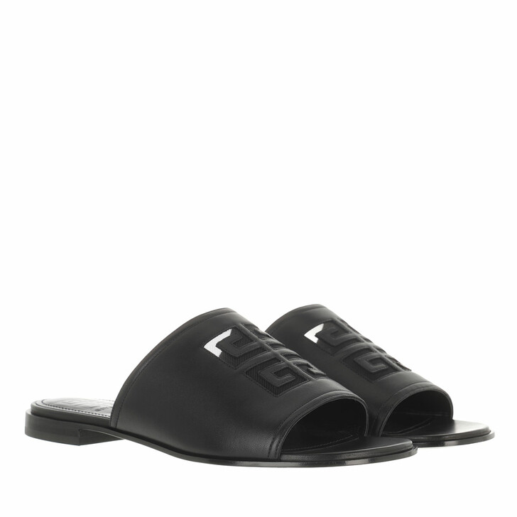 Schuh, Givenchy, 4G Flat Sandals Leather Black